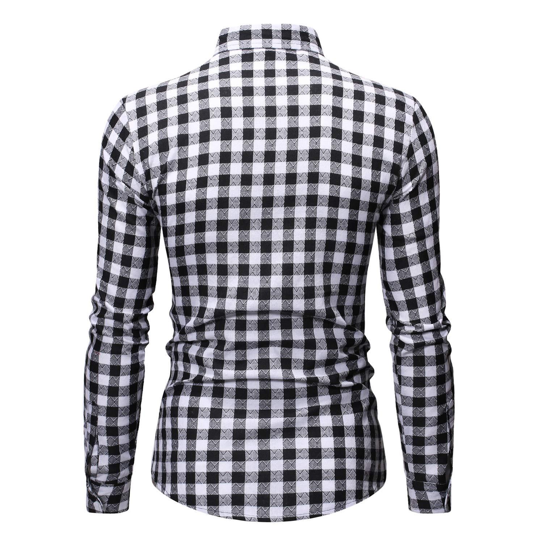 FieerMen Bussiness Fit Long-Sleeve Plaid Pattern Lapel Loose Shirt