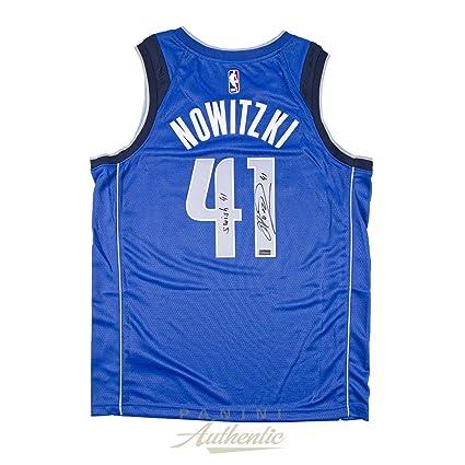 3e44146e6 Dirk Nowitzki Autographed Nike Dallas Mavericks Blue Swingman Jersey with  Swish 41 quot  Inscription ~Limited