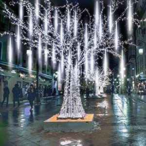 Meteor Lights, Pomelotree 20in 10 Tubes 540 Waterproof LED Meteor Shower Rain Cascading Lights for Wedding Christmas New Year Party Tree Decoration (White)