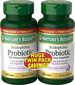 Natures Bounty Probiotic Acidophilus Dietary Supplement for Digestive Health with Friendly Bacteria, Gluten Free, Dairy Free