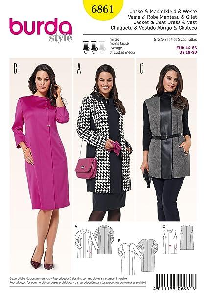 Burda Patrón Nº6861 Style: Chaqueta, vestido-abrigo y chaleco