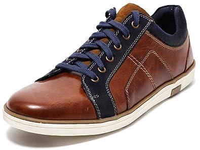 Herren Leder Sneaker Lederschuhe Halbschuhe Herrenschuhe Schnürschuhe Freizeitschuhe Slipper Business Casual Schuhe ECHTLEDER cognac braun Gr. 43 45