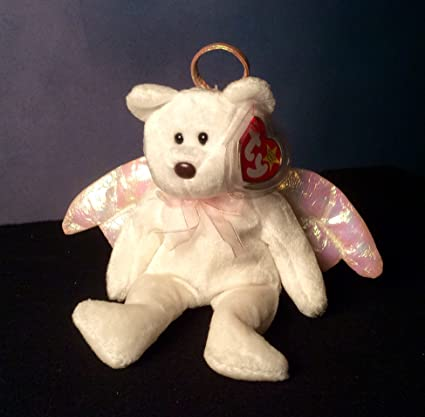 a7ddaeb4b23 Image Unavailable. Image not available for. Color  1 X Halo the White Angel  Bear - MWMT Ty Beanie Babies