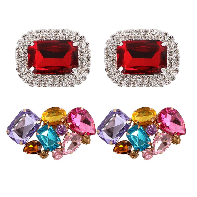 Polkar 2 Pairs Elegant Rhinestone Crystal Metal Shoe Clips Shoe Buckle for Wedding Party Decoration (Color B)