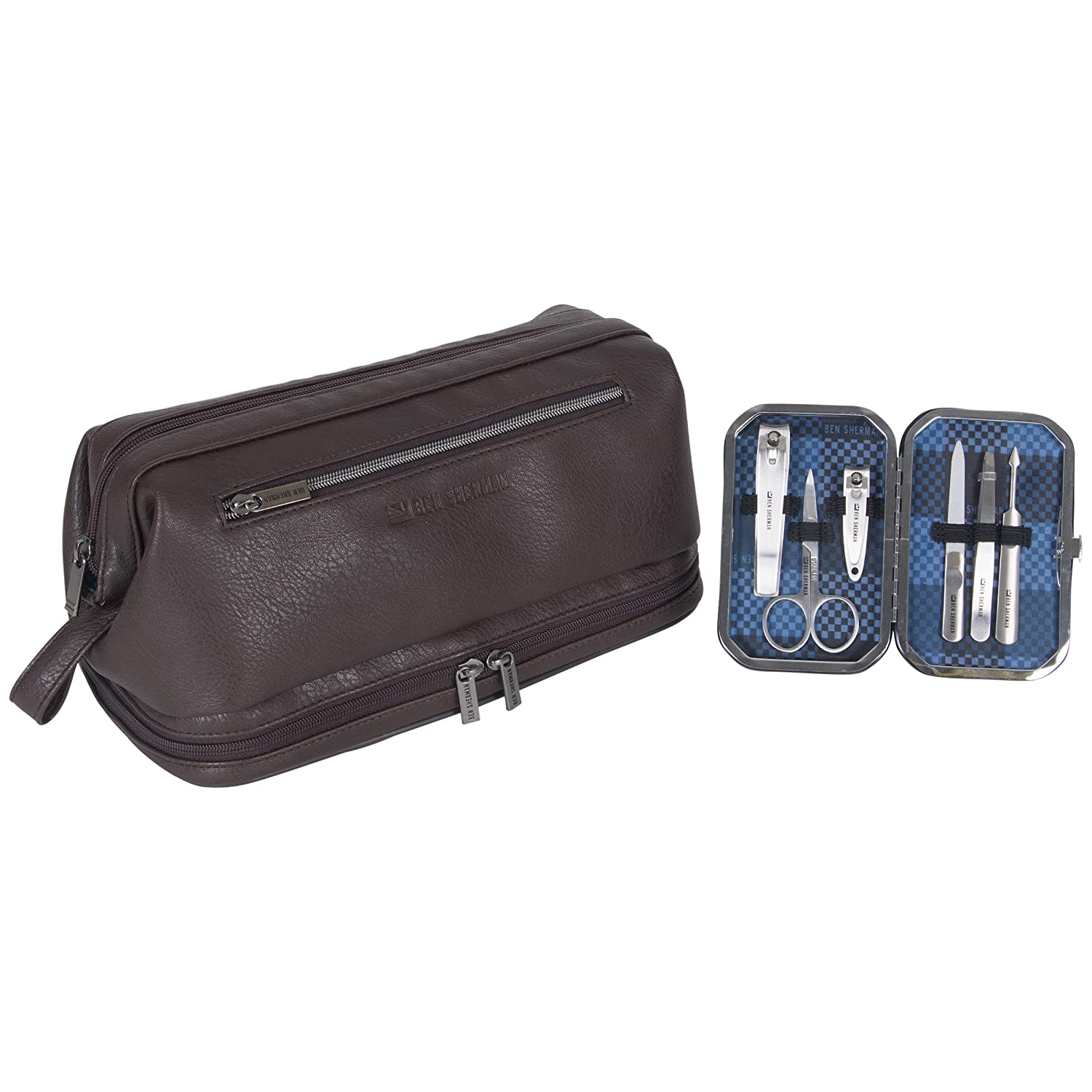 Ben Sherman Noak Hill Collection Vegan Leather Toiletry Travel Kit, Brown, 2PC Set: Industrial & Scientific