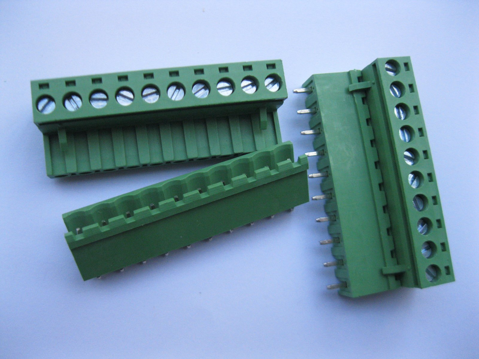 5 Pcs Pitch 5.08mm Straight 10way/pin Screw Terminal Block Connector w/ Straight-pin Green Color Pluggable Type Skywalking by Skywalking