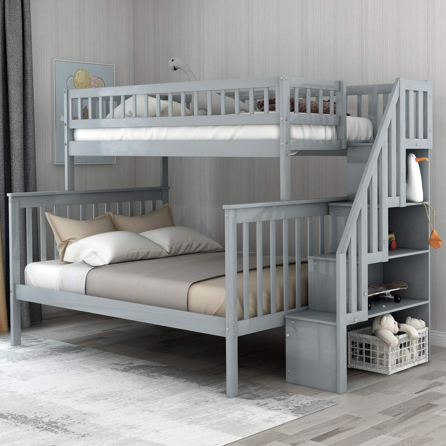 Twin-Over-Full Bunk Bed for Kids with Storage and Stair Loft, Neutral Grey by WeYoung