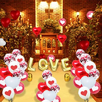 Amawill 35 Pieces Valentine S Day Balloons Heart Shape Balloons