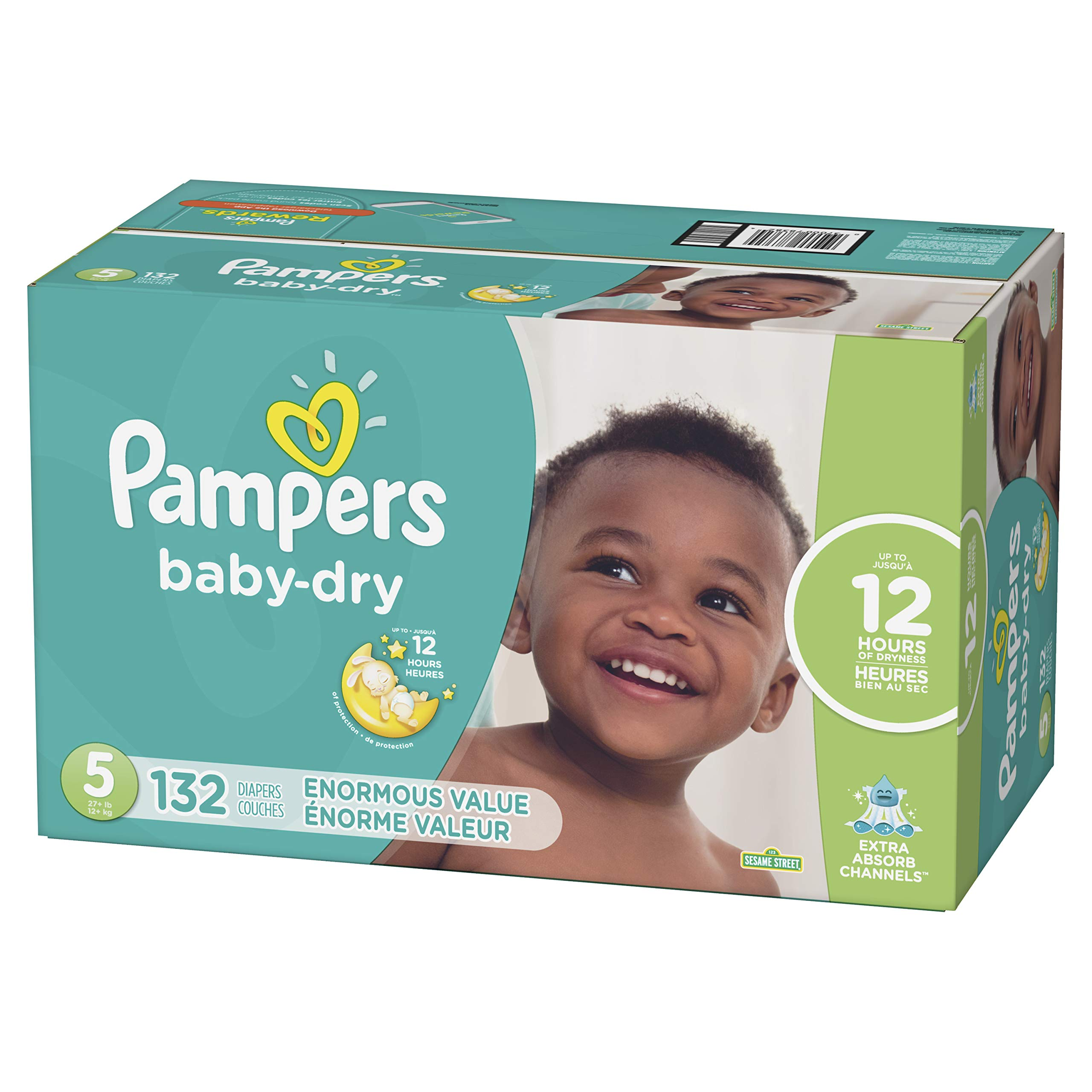 Diapers Size 5, 132 Count - Pampers Baby Dry Disposable Baby Diapers, Enormous Pack by Pampers