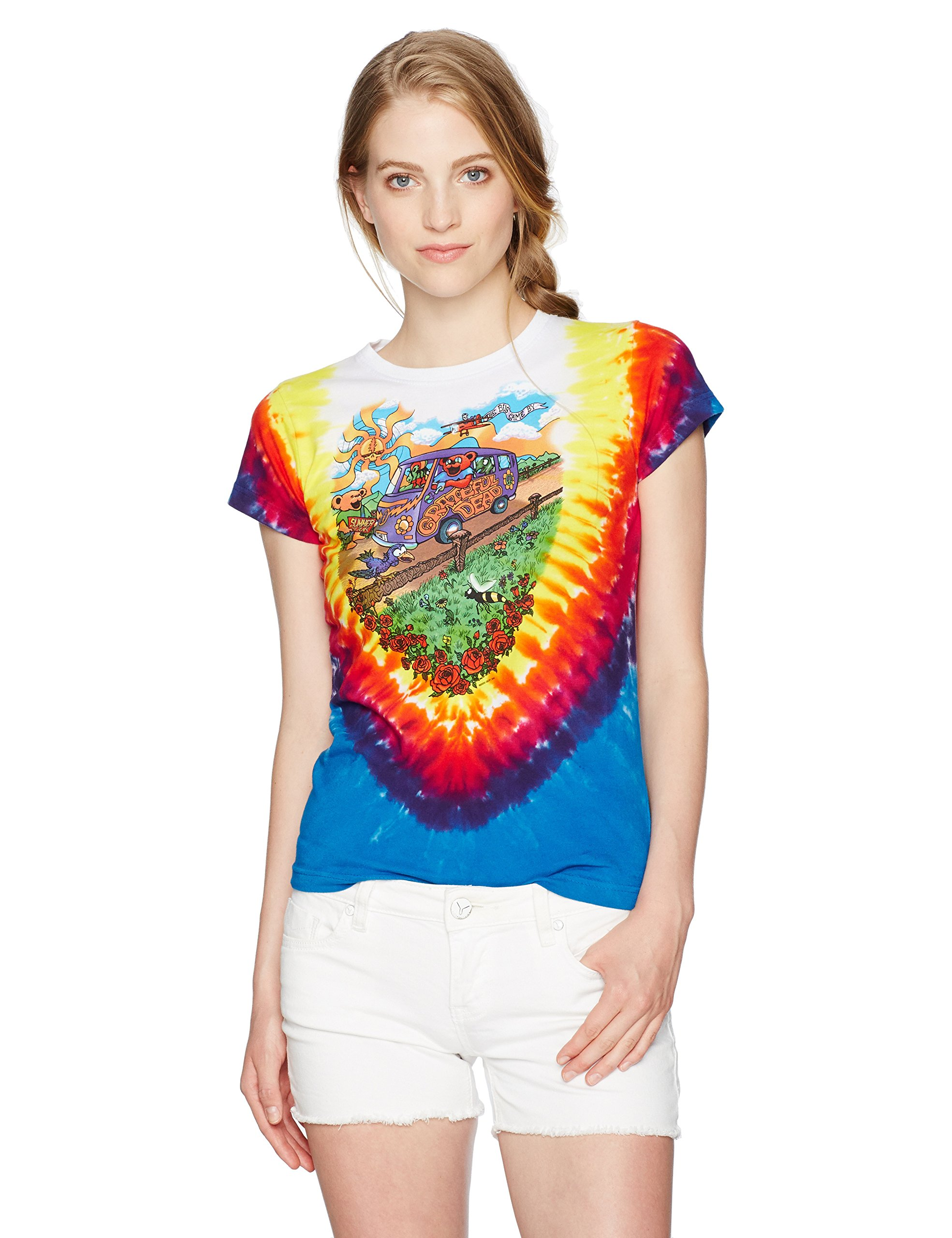 Liquid Blue Women's Grateful Dead Summer Tour Bus Tie Dye Juniorsgraphic Tee, Large