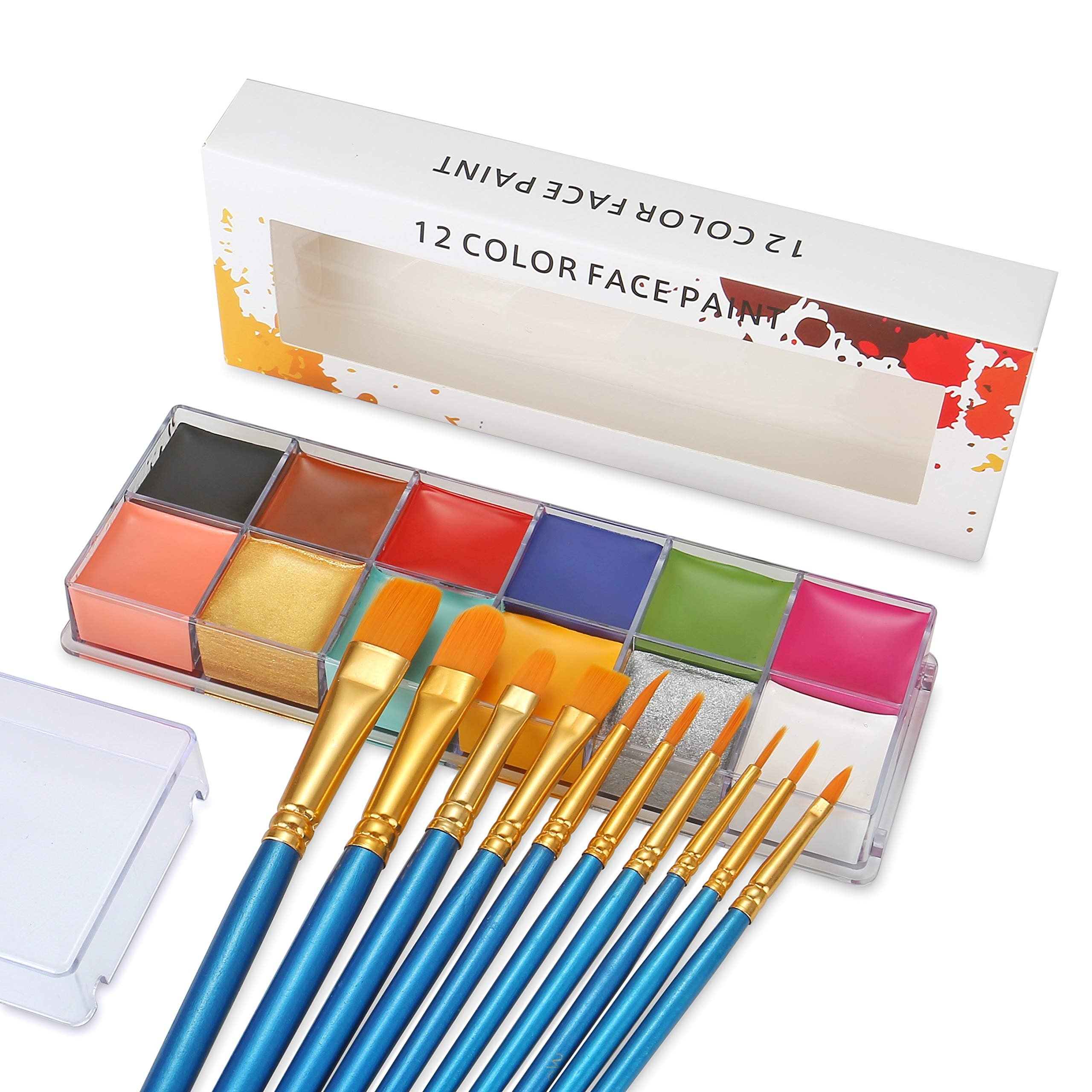 Professional Face Body Paint Oil 12 Colors Painting Art Party Halloween Fancy Make Up with Brushes by CCbeauty