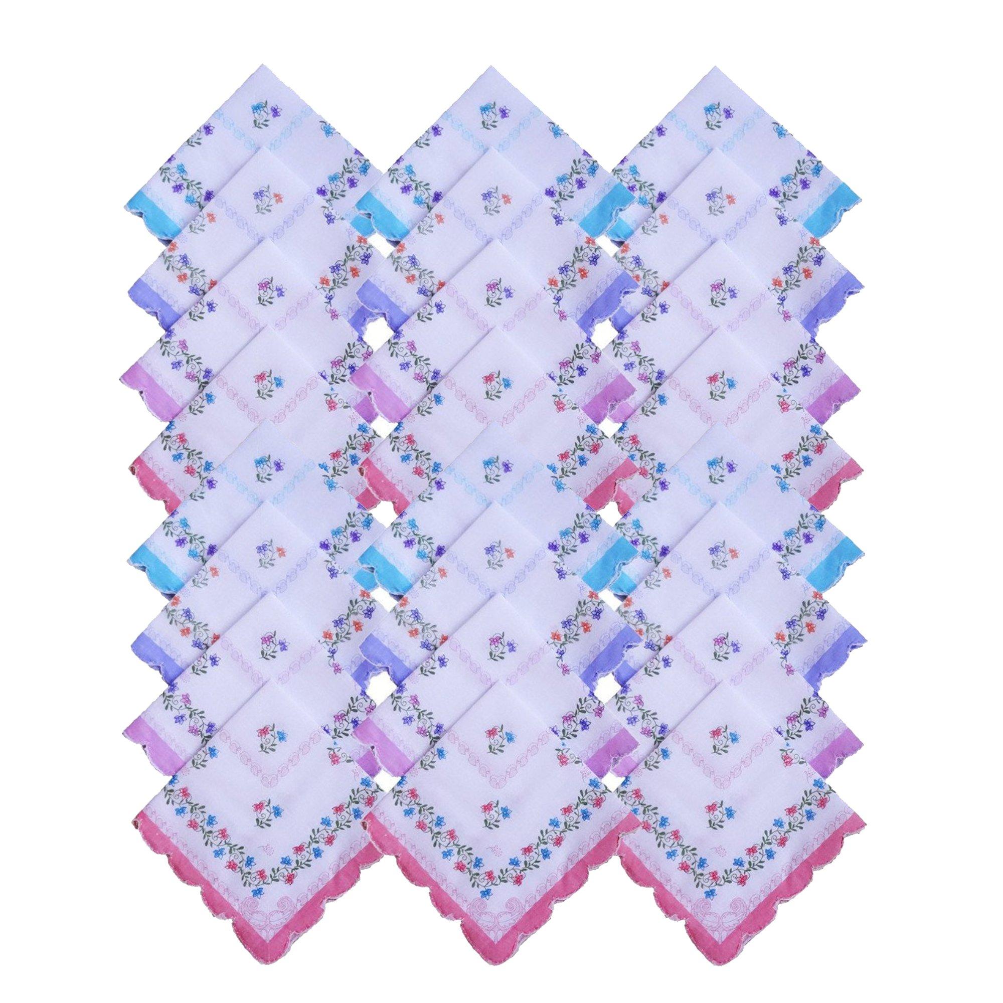 S4S 100% Cotton Women's Floral Handkerchief (Pack of 24)