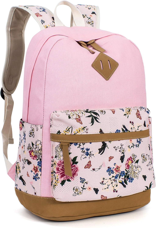 Leaper Floral School Backpack College Bookbag Shoulder Bag Satchel Daypack Pink
