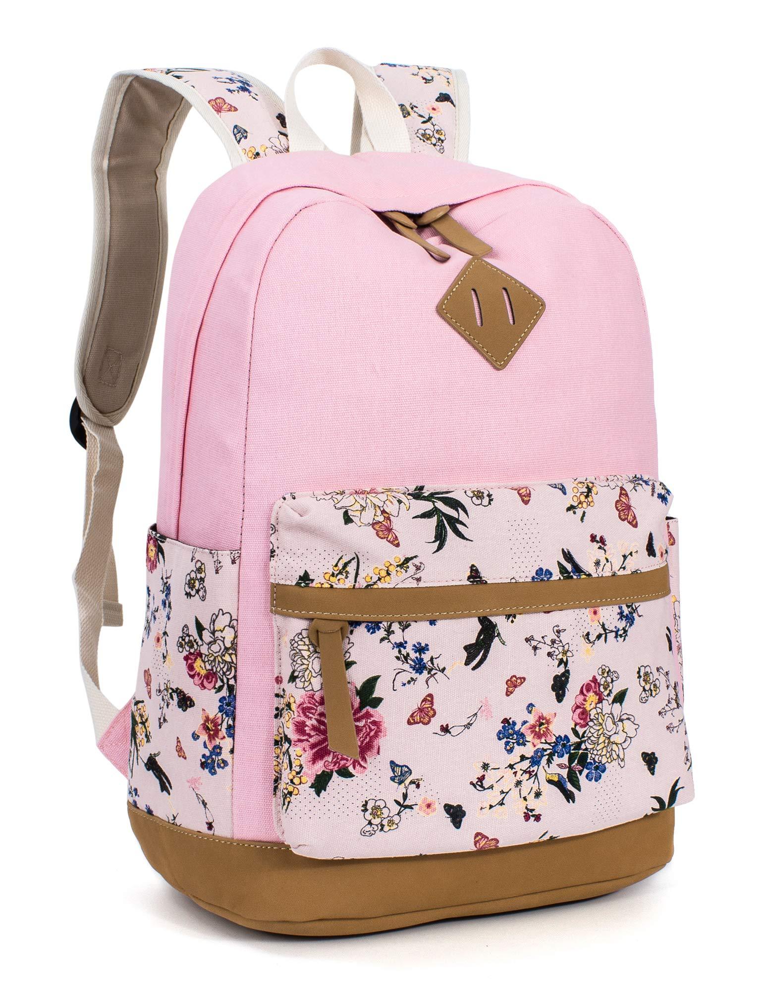 Leaper Floral School Backpack College Bookbag Shoulder Bag Satchel Daypack Pink by Leaper