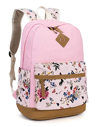 Leaper Casual Style Lightweight Canvas Laptop Backpack Cute School Bookbags  Pink 1a1dca4bea7ff