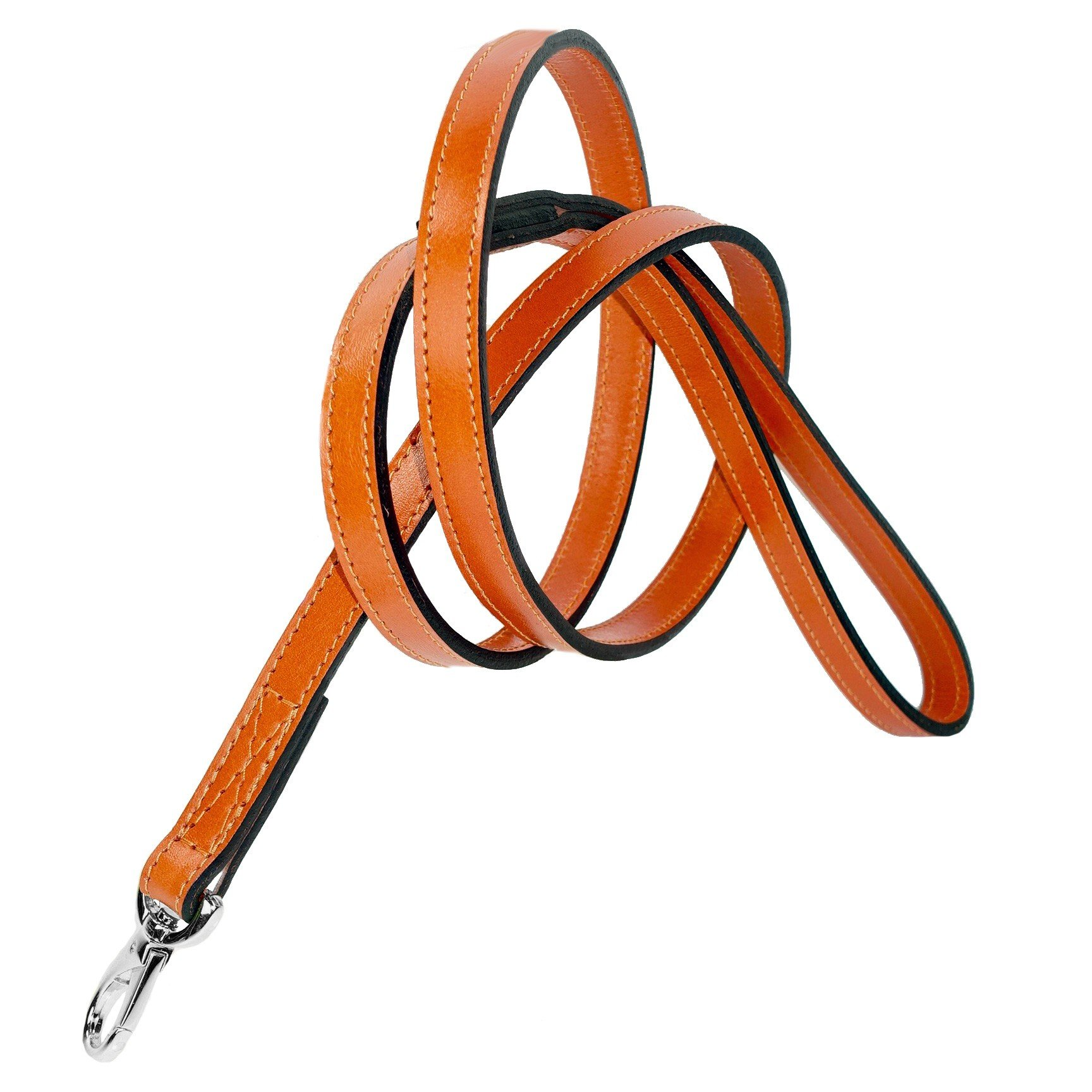 Hartman & Rose Leather Dog Leash with Nickel Plated Hardware - Italian Leather Collection Walking & Training Leads Tangerine Orange, 4 Feet by 3/4 Inch