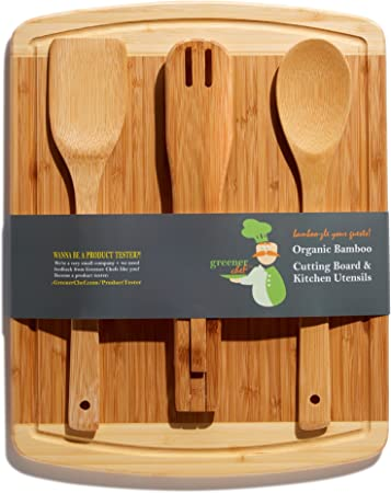 Bamboo Cutting Board and Cooking Utensils