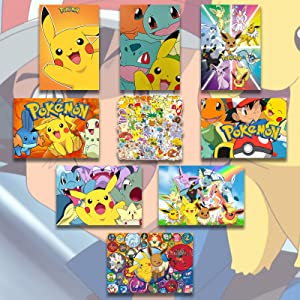 Pika-chu Pokemon Posters 8 PCS + 100 PCS Stickers Anime Wall Art for Bedroom Living Room Decor Birthday Gift Unframed 11.5x16.5in