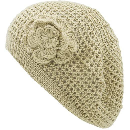 f5e88bb6c an Womens Crochet Hat Flower Beanie Beret Fashion Accessory Lightweight  Knit Cap