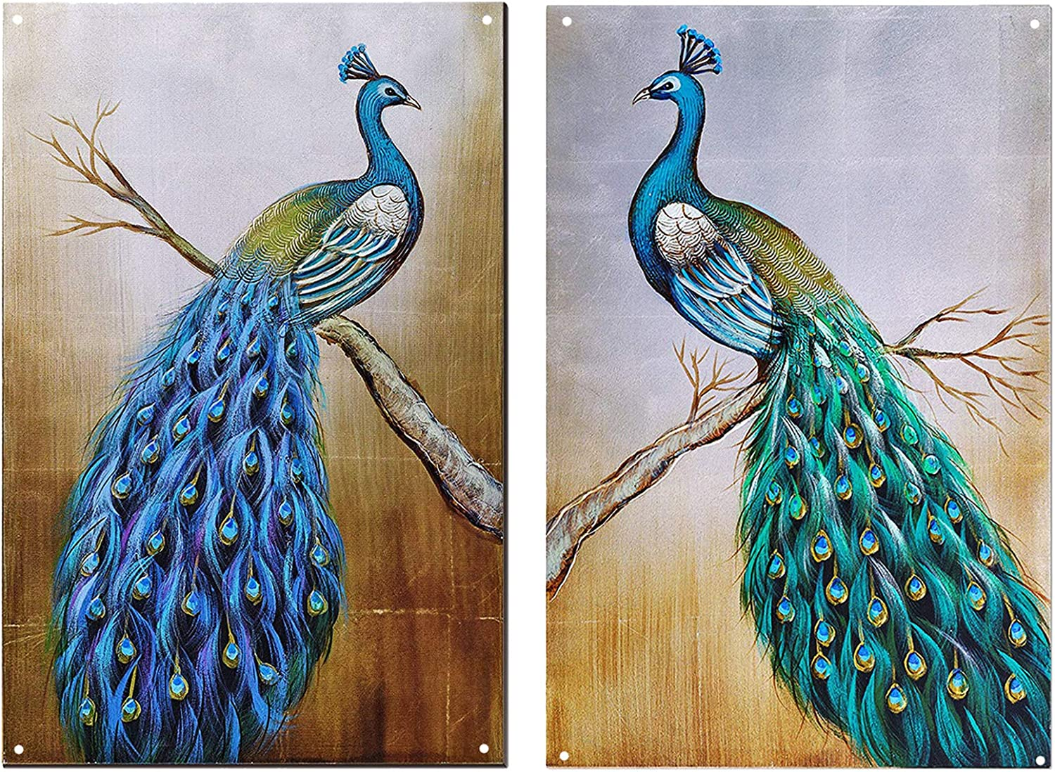 TISOSO Two Peacocks Beautiful Wall Art Painting Metal Sign Wall Art Decor for Living Room Vintage Art Bar Home Decor Gifts Decoration 2pcs-8x12inch