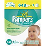 Pampers Baby Wipes Natural Clean (Unscented) 9X Refill, 648 Count