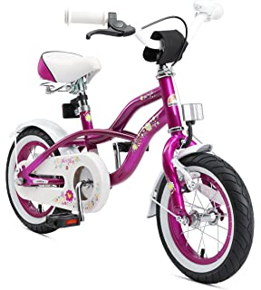 PROMETHEUS Bicicleta para niñas de 14 pulgadas en rosa y blanco ...