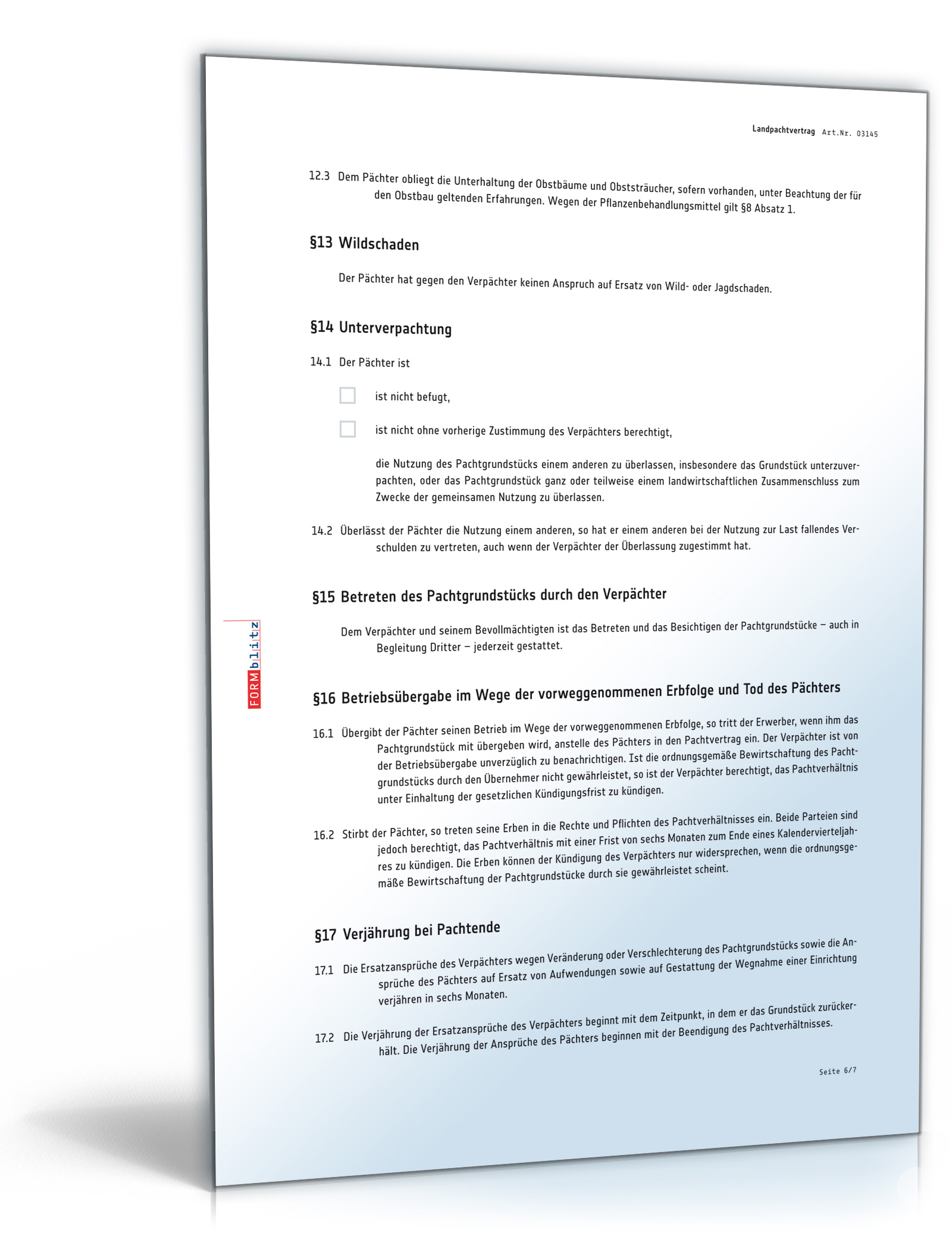 landpachtvertrag pachtvertrag fr landwirtschaftliche nutzflchen doc download amazonde software - Pachtvertrag Garten Muster