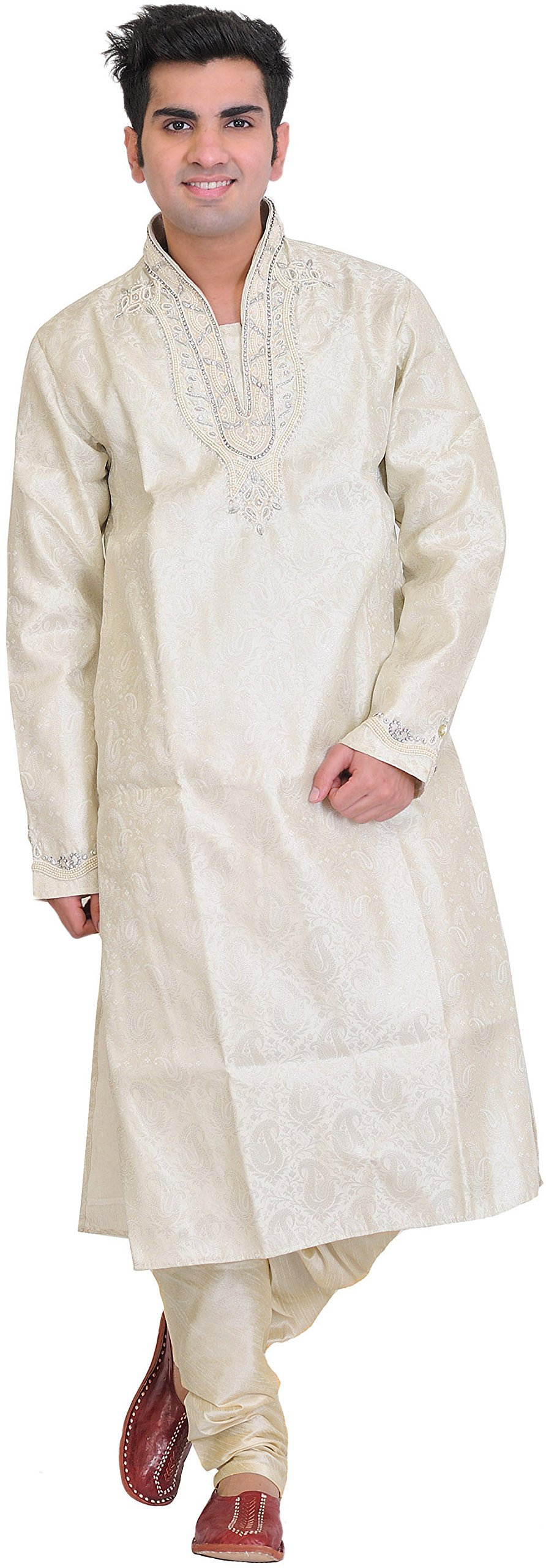 Exotic India Cloud-Cream Wedding Kurta Paja - Off-White Size 38