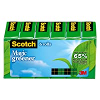 6 Rolls Scotch Magic Greener Tape Made w/Recycled Material