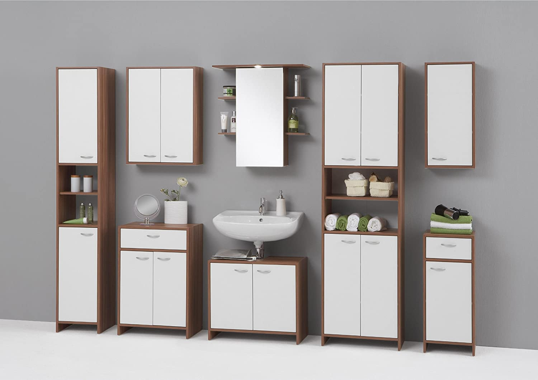 Germanica MADRID Premium Tall Bathroom Cupboard / Tallboy Unit in White and Plum Tree Finish GermanicaTM