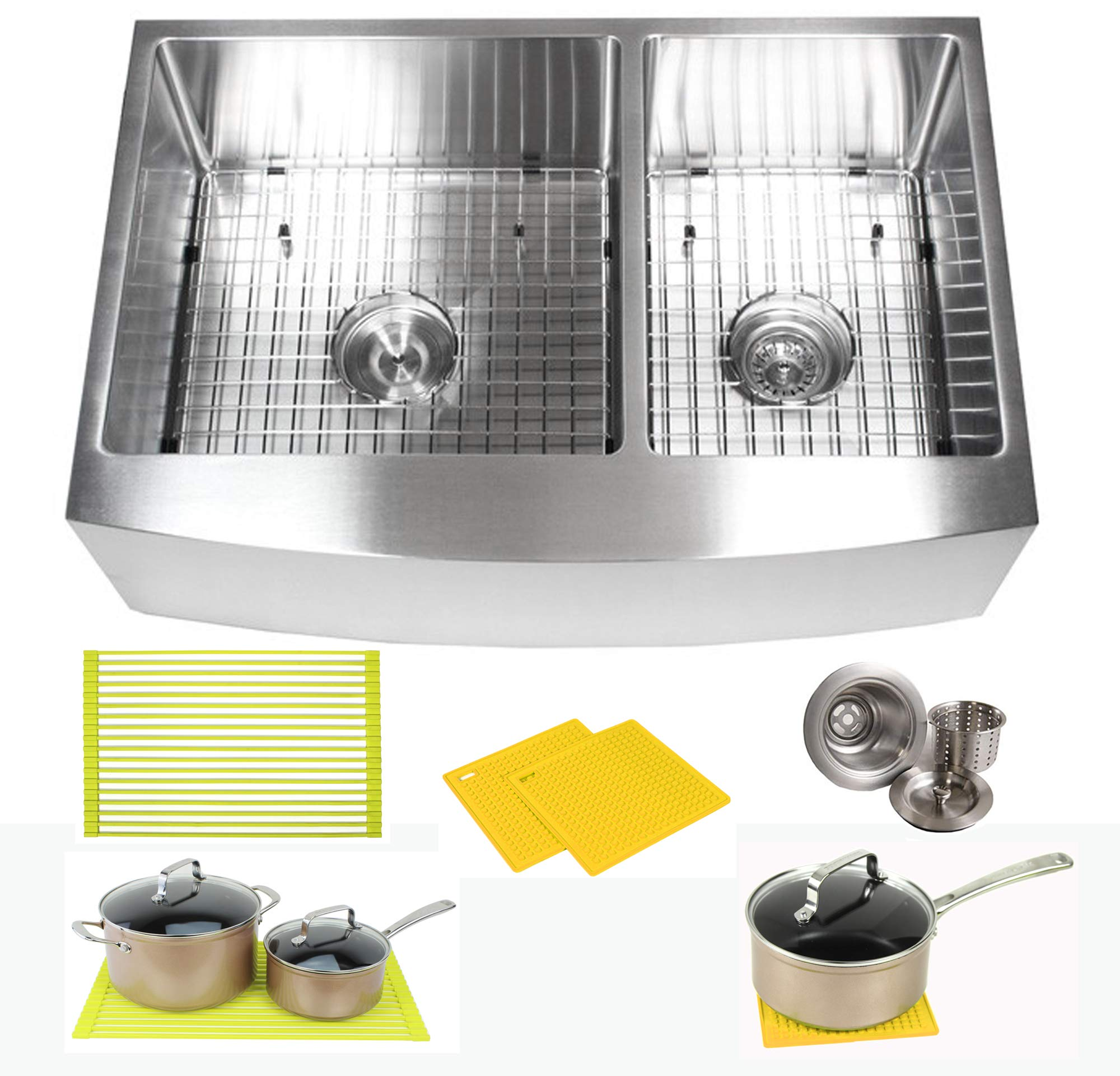 Premium 33 Inch Farmhouse Apron Front Stainless Steel Kitchen Sink Package - 16 Gauge Curved Front Double Bowl Basin - Complete Sink Pack + Bonus Kitchen Accessories