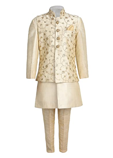 1d9c46d41a Ahhaaaa Kids Indian Ethnic Banarasi Silk Kurta Pyjama and Waistcoat Set for  Boys GOLD410-10