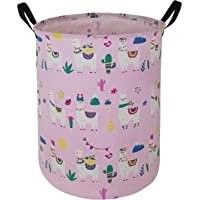 HUAYEE 19.7 Inches Large Laundry Basket Waterproof Round Cotton Linen Collapsible Storage bin with Handles for Hamper…
