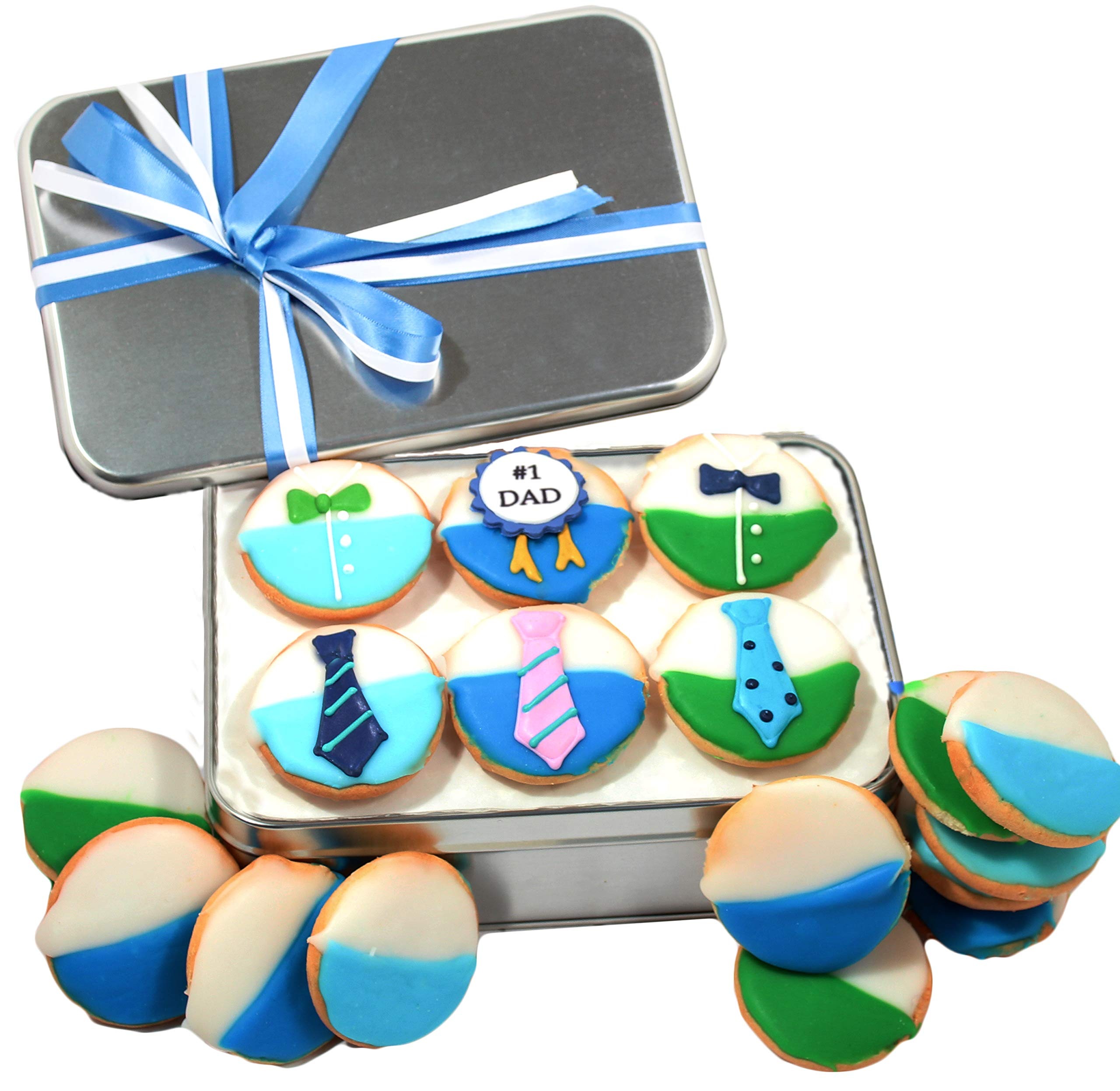Fathers Day Cookie gift basket Gourmet Food Tin filled with 18 individually hand decorated designed DAD # colored black and whites Great Gift idea for Father Brother Son Husband PRIME DELIVERY by Custom Cookies