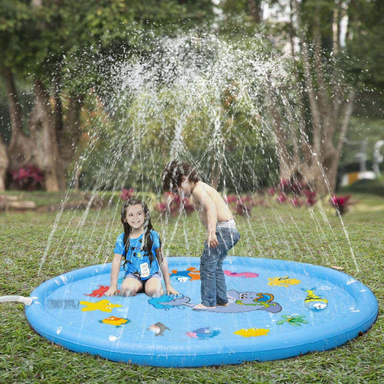 Sprinkler for Kids, Sprinkler Pad & Splash Play Mat 68'' Toddler Outdoor Water Toys Fun for Babies Boys Girls Children Outdoor Party Sprinkler Toy Splash Pad Water Play Mat by WamGra