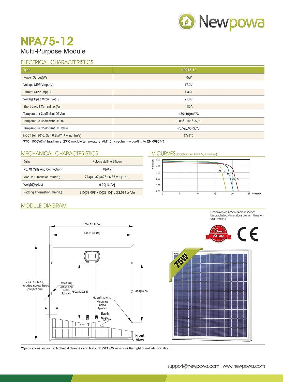 Newpowa 75w 12v Solar Panel High Efficiency Poly Module Rv Marine Boat Off Grid