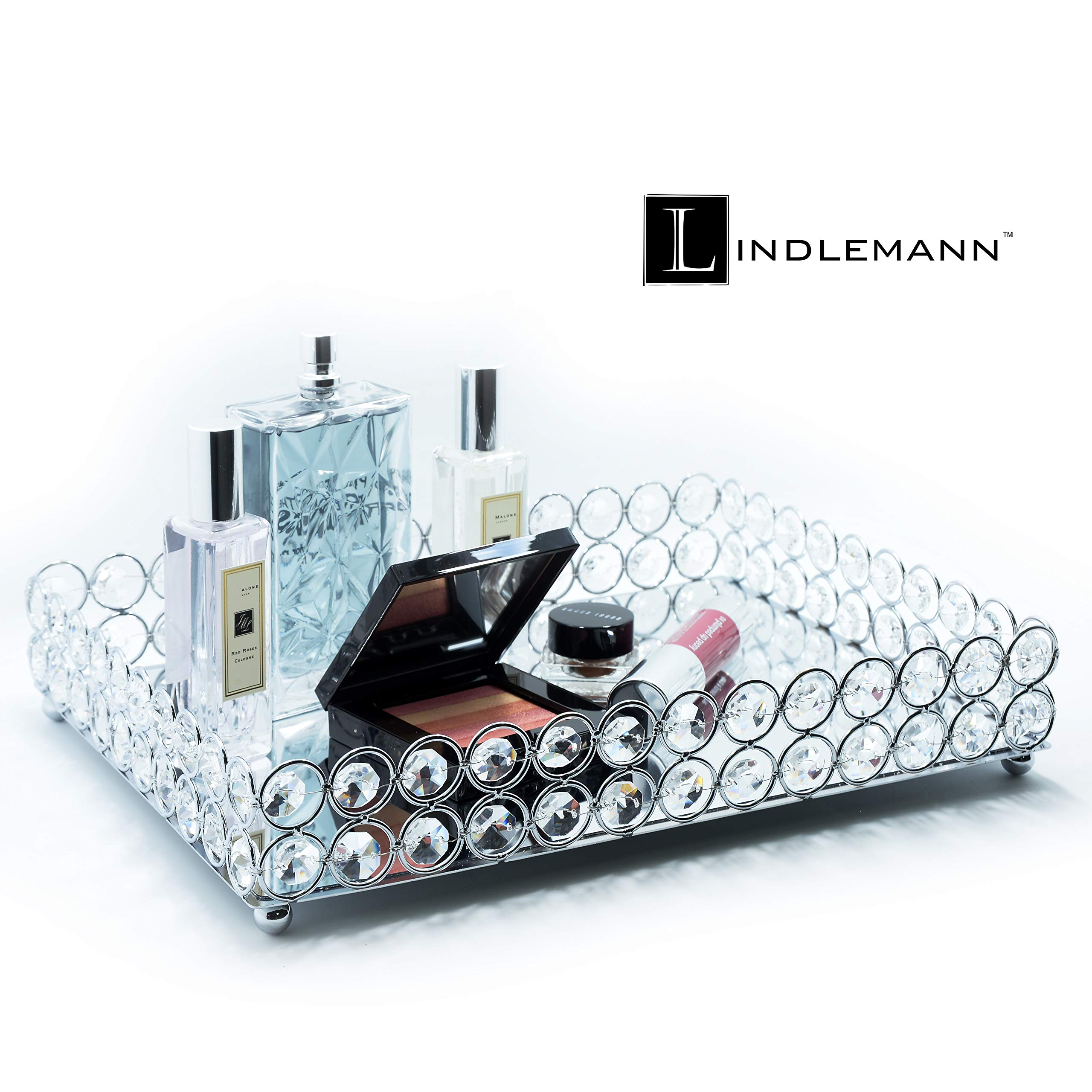 Lindlemann Mirrored Crystal Vanity Tray - Ornate Decorative Tray for Perfume, Jewelry and Makeup (Rectangle 12 x 9 inches, Silver) by Lindlemann (Image #3)
