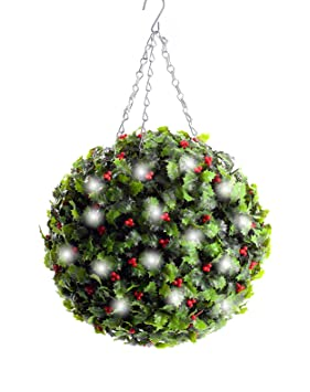 Christmas Topiary Balls.Best Artificial Pre Lit 30cm Christmas Holly Topiary Ball Battery Operated 8 Modes And Timer