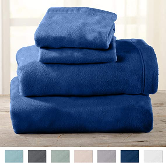 Maya Collection Super Soft Extra Plush Fleece Sheet Set. Cozy, Warm, Durable, Smooth, Breathable Winter Sheets in Solid Colors (King, Navy) best king-size fleece sheets