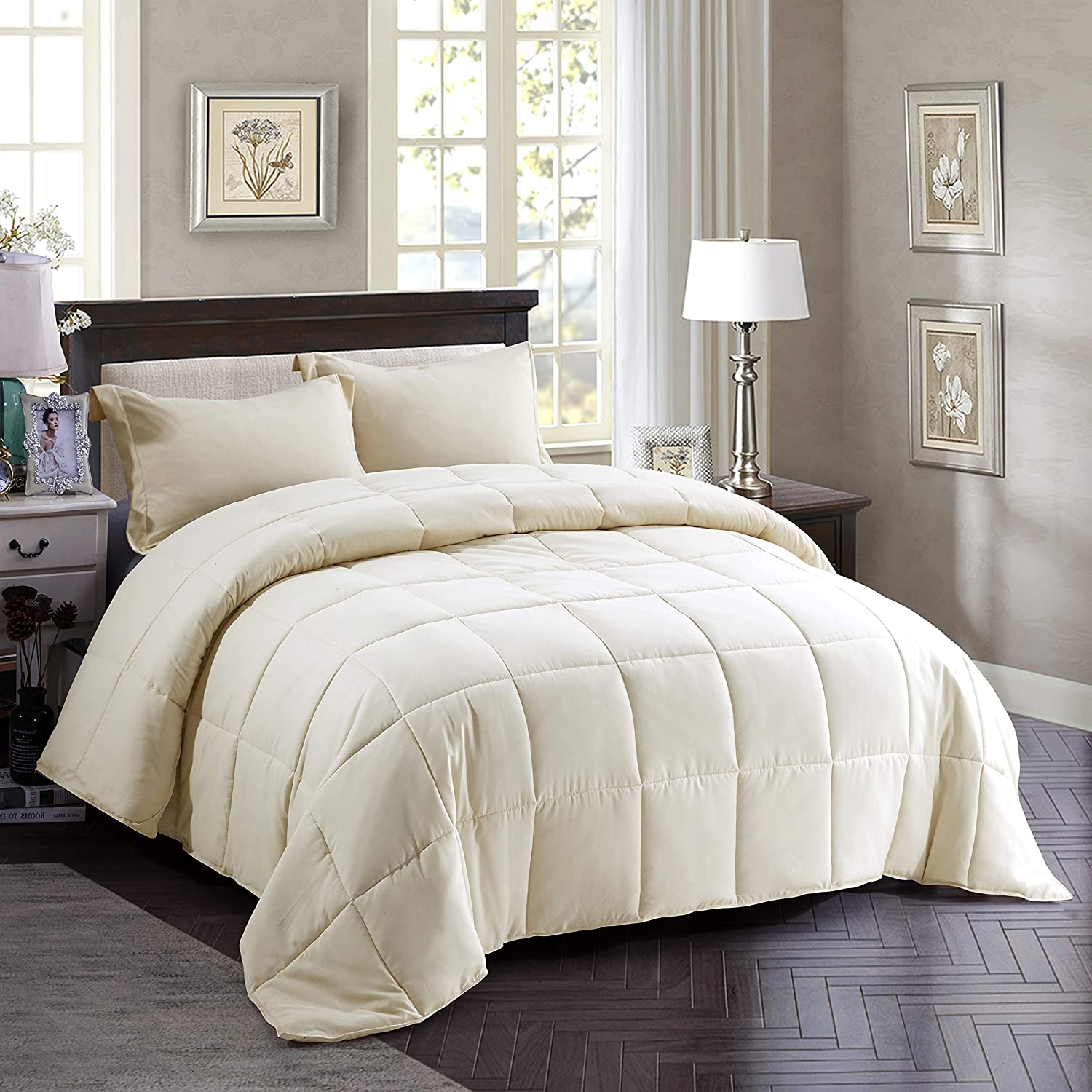 HIG 3pc Down Alternative Comforter Set - All Season Reversible Comforter with Two Shams - Quilted Duvet Insert with Corner Tabs -Box Stitched –Hypoallergenic, Soft, Fluffy (Full/Queen, Ivory)