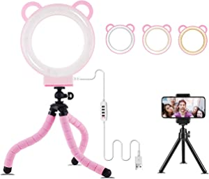 """Lusweimi LED Ring Light 6"""" with Tripod Stand for YouTube Video/Makeup/Live Streaming, Mini LED RingLight with Cell Phone Holder Desktop Lamp Suitable for iPhone 8 9 10 11 X XS XR/Android (Pink"""
