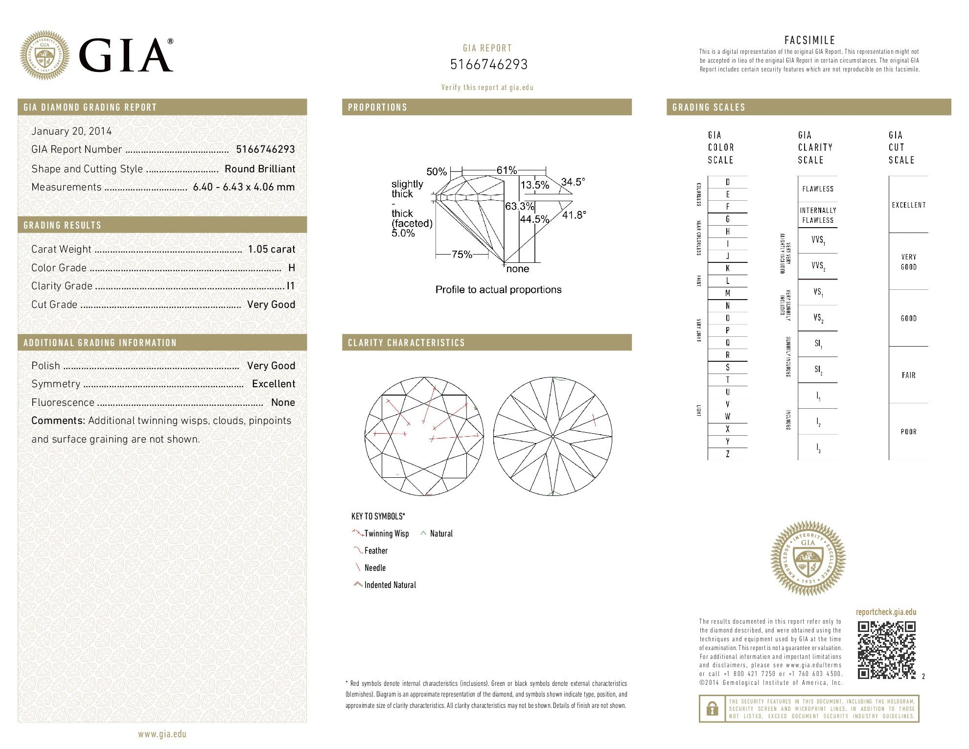 GIA Certified Round Natural Loose Diamond ( Carat: 1.05 , Color: H, Clarity: I1 ) by Amazon Collection (Image #3)