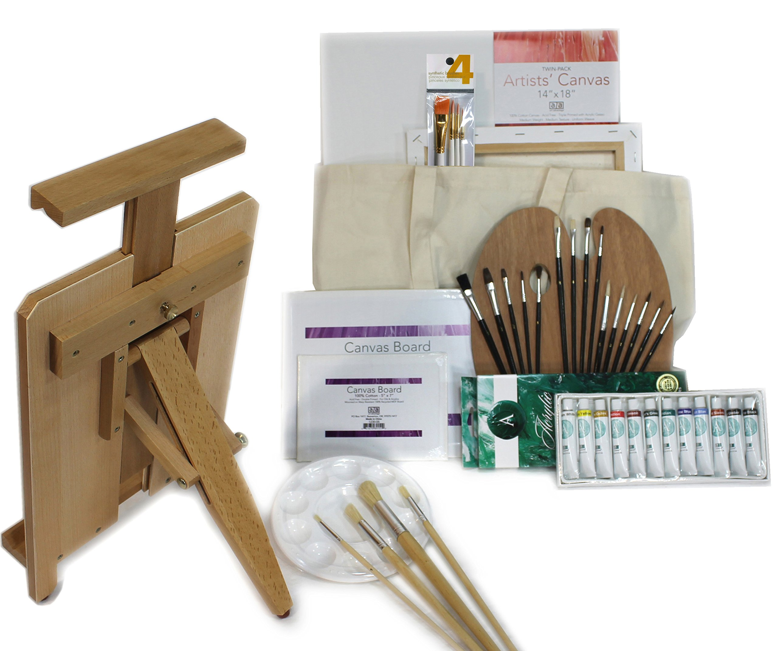 45 PC Ultra Portable Heavy Duty Table Easel with Acrylic Painting Set