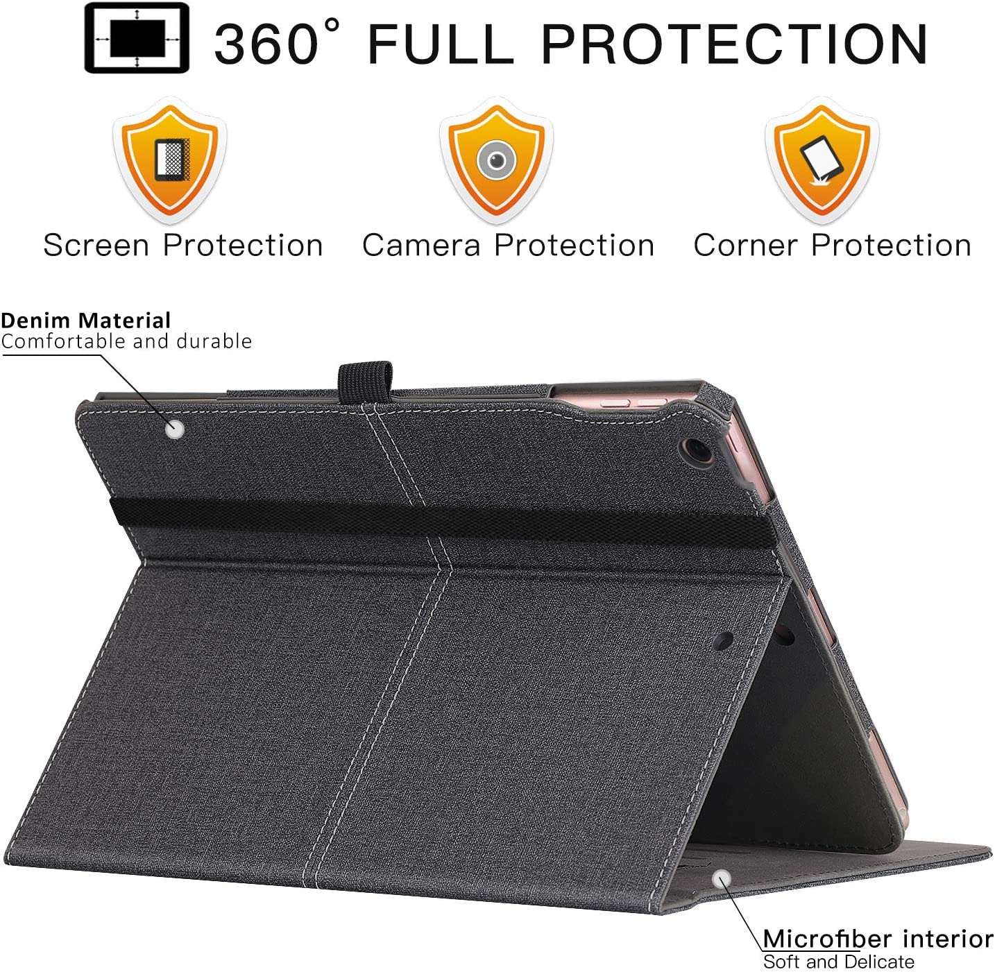 Ztotop for iPad 7th Generation Case iPad 10.2 Case 2019 Pencil Holder Leather Folding Stand Cover with Auto Wake//Sleep Magnetic Stable Multiple Viewing Angles Case for iPad 7th Gen Brown