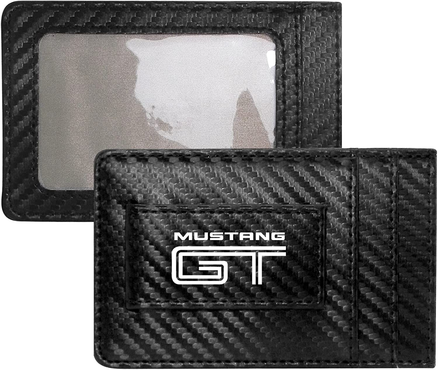 Ford Mustang GT Black Carbon Fiber Leather Wallet RFID Block Card Case Money Clip
