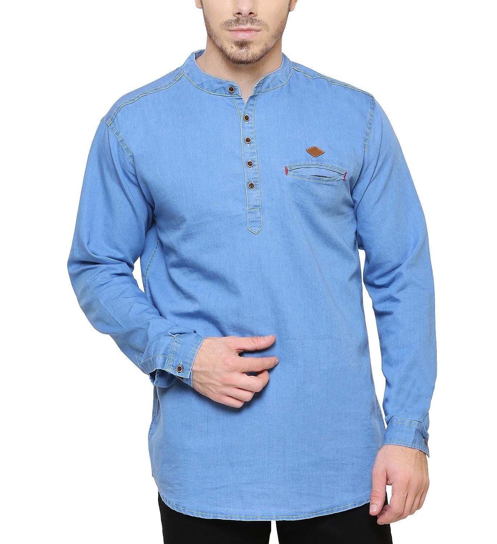 92c069e5c7 Kuons Avenue Light Blue Men s Denim Kurta Cotton Kurta for Men  Amazon.in   Clothing   Accessories