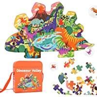 REMOKING Kids Jigsaw Puzzle Ages 3-8,105 Pieces Dinosaur Floor Puzzle with Storage Bag,Educational Learning Jigsaw…