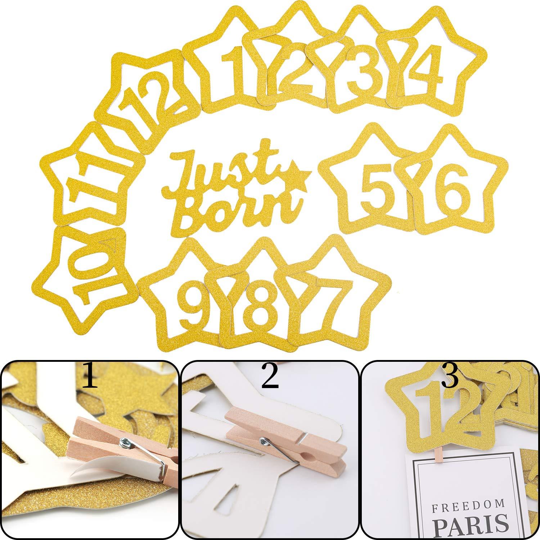 Articles De F/ête SAVITA 1er Anniversaire D/écoration Or Glitter 1-12 Mois Photo Banni/ère pour D/écorations De Douche De B/éb/é
