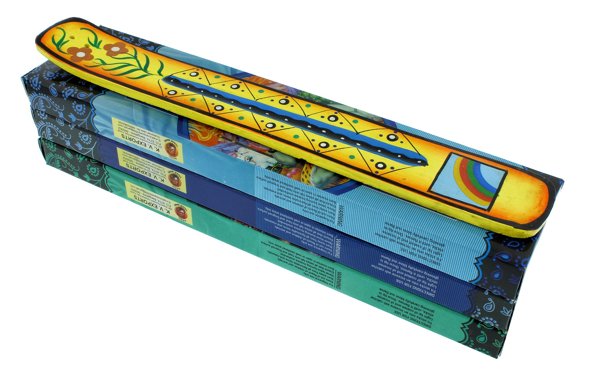 Incense Gift Pack | 1 Hand Painted Incense Burner and 3 Boxes of Incense | Rainbow Design | Yellow | by Zen Mood