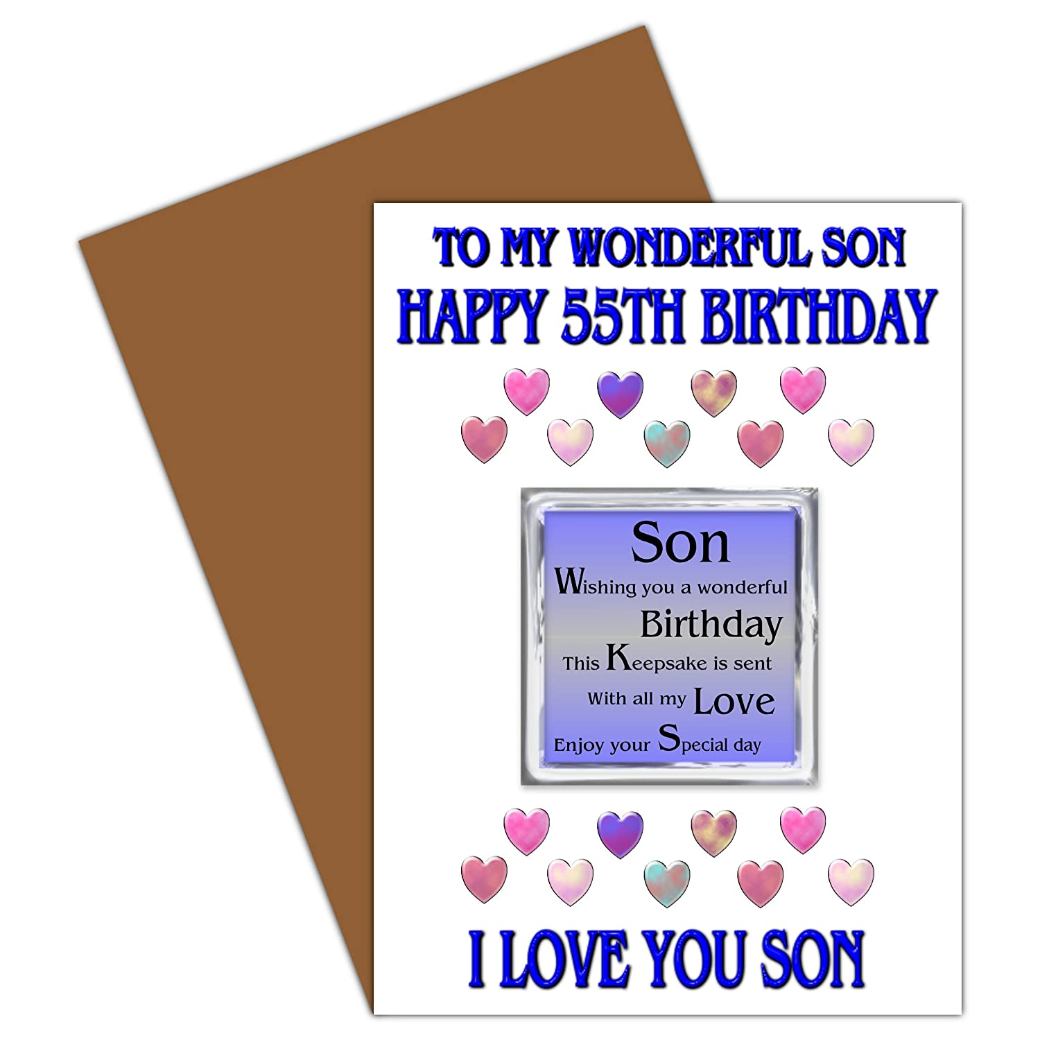 son 55th happy birthday card with removable magnet gift 55 today